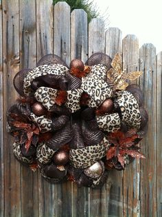 Deco Mesh Leopard Print Burlap Wreath Chocolate by GoblinsandHolly, $75.00
