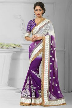 Purple and white chiffon saree with purple brocade blouse.  Embellished with embroidered, resham, zari and stone.  Saree comes with v neck blouse.  It is perfect for casual wear, festival wear and party wear.  Andaaz Fashion is the most popular designer wear online ethnic shop brands .  http://www.andaazfashion.us/womens/sarees/fabric/georgette-saree