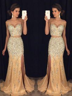 13ffd647099 Gorgeous Beading Bodice Floor Length Mermaid Style Prom Dress Straps ...