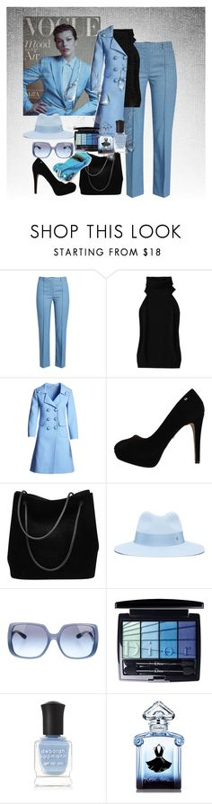 """blue bell milla Jovovich"" by princhelle-mack ❤ liked on Polyvore featuring Theory, Michael Kors, Gucci, Maison Michel, Miu Miu, Christian Dior, Deborah Lippmann, Guerlain and BMW"