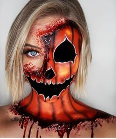 Scary Halloween Makeup Looks You Should Try This Year; - Makeup Looks - Halloween Creepy Halloween Makeup, Amazing Halloween Makeup, Halloween Makeup Looks, Halloween Costumes, Halloween Face, Ghost Makeup, Scary Makeup, Sfx Makeup, Face Makeup