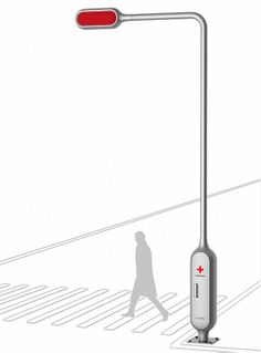 LifeCross Traffic Light Pole Can Keep Rescue Equipment and First Aid Kit - Tuvie Landscape And Urbanism, 3d Modelle, Industrial Design Sketch, Id Design, Medical Design, Instructional Design, Amazing Buildings, Futuristic Technology, Traffic Light