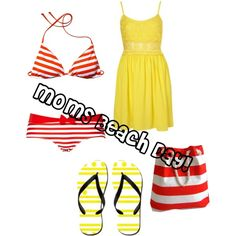 Moms Beach Day (: by scarlett-williams on Polyvore ---------------------- I'm happy to see that scarlett-williams used one of my yellow polka dot and stripes flip flops in this set :) http://www.cafepress.com/flipflopmania.848735126