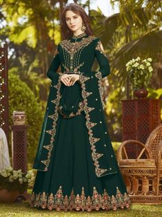 Pristine green partywear gown suit online which is crafted from georgette fabric with exclusive embroidery, zari and stone work. This trendy gown suit comes with santoon bottom and georgette dupatta. Eid Dresses, Pakistani Dresses, Indian Dresses, Bridal Dresses, Flapper Dresses, Anarkali Tops, Anarkali Dress, Anarkali Suits, Indian Anarkali