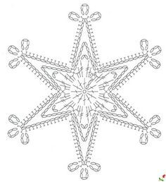 crochet pattern - star snowflake hexagon six points chart / diagramgwiazdka na Stylowi.We knit a snowflake with a hook – picking … Snowflake … – Snowflakes World Crochet Diagram, Crochet Motif, Crochet Designs, Crochet Doilies, Crochet Flowers, Crochet Patterns, Diy Crochet, Crochet Snowflake Pattern, Crochet Snowflakes