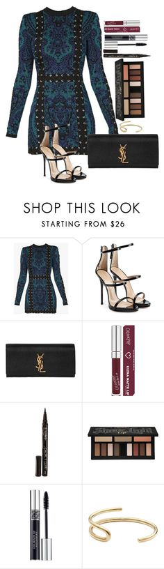 """Untitled #1701"" by fabianarveloc on Polyvore featuring Balmain, Giuseppe Zanotti, Yves Saint Laurent, Smith & Cult, Kat Von D, Christian Dior and Fay Andrada"