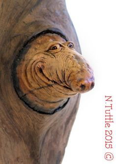 """""""Knot Mole""""     7 inches tall, 2¾ inches wide and 3 inches to the tip of his nose.    Signed and dated:   N. Tuttle 12/27/15"""