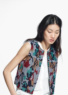 Multicolor embroidery vest