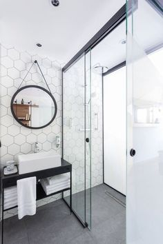 A honeycomb backsplash tile. Black and white bathroom decor Bathroom Renos, Bathroom Interior, Small Bathroom, Master Bathroom, Bathroom Ideas, Vanity Bathroom, Shower Ideas, Bathroom Inspo, Bathroom Remodeling