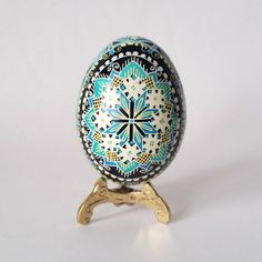 Pisanka egg in blue and turquoise