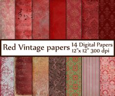 "Red Digital Paper: ""RED PAPER"" Romantic Valentine Backgrounds Red Damask paper Vintage paper Rouge  Background paper Textured paper"