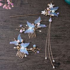 Smarter Shopping, Better Living! Aliexpress.com Fancy Jewellery, Cute Jewelry, Hair Jewelry, Fashion Jewelry, Kawaii Accessories, Head Accessories, Hair Accessories For Women, Butterfly Hair, Blue Butterfly