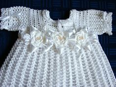 Crochet Christening Dress and headband with flowers by Dachuks