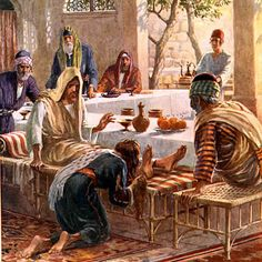 """Lk7:44 Then he turned toward the woman and said to Simon, """"Do you see this woman? I came into your house. You did not give me any water for my feet, but she wet my feet with her tears and wiped them with her hair. You did not give me a kiss, but this woman, from the time I entered, has not stopped kissing my feet. You did not put oil on my head, but she has poured perfume on my feet. Therefore, I tell you, her many sins have been forgiven—as her great love has shown."""