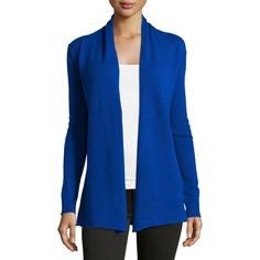 Neiman Marcus Cashmere Open-Front Cardigan ($70) ❤ liked on Polyvore featuring tops, cardigans, blue, long sleeve cardigan, blue cashmere cardigan, cashmere cardigan, long sleeve open front cardigan and cashmere shawl collar cardigan
