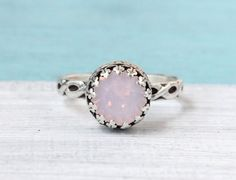 Silver ring with 8 mm Swarovski Rosewater Opal by SilverStamped