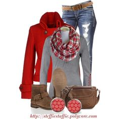 """""""Red, Gray & Plaid"""" by steffiestaffie - Oh Yeah! Mode Outfits, Casual Outfits, Fashion Outfits, Womens Fashion, Teen Fashion, Fall Winter Outfits, Autumn Winter Fashion, Christmas Outfits, Looks Style"""
