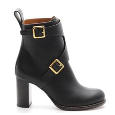 🎀HP🎀Chloe Black Leather Gold Buckle Ankle Boots These black leather ankle boots will get you places in style! The sleek design and modern construction is effortlessly chic for years to come! Features include a round toe, buckle closures, and a stacked heel, retails at $1650 NEW! (Includes box and sleeper) Very light wear on insoles and outsoles; Faint scratches and creases along uppers; Overall excellent condition  Total Height: 8.75 in.  Opening Circumference: 8 in.  Outsole: 10.5 in…