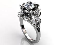 Platinum diamond unusual unique floral engagement ring by Jewelice