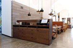 restaurant service station design - i like that its super clean with tons of storage