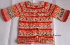 Örgü Yarim kollu Bebek Hirkasi knit baby cardigan:YAPILIŞI: http://www.marifetane.com/2013/03/orgu-yarim-kollu-bebek-hirkasi-knit.html