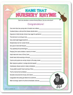 Printable Name That Nursery Rhyme - Funsational.com