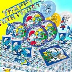 RZOnlinehandel - Partyset Schlümpfe Comic für bis zu 8 Kinder - 53teilig Party Set, Happy Birthday, Comic, Happy Brithday, Urari La Multi Ani, Comic Strips, Happy Birthday Funny, Comics, Cartoon