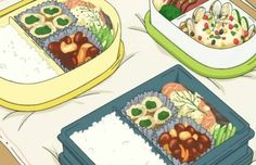 japan and bento image Bento Anime, Real Food Recipes, Cooking Recipes, Bento Recipes, Bento Ideas, Bento Box Lunch, Life Savers, Food Illustrations, Party Cakes