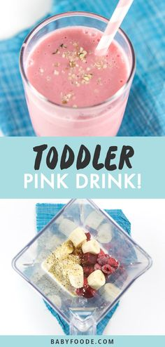 My Toddler's Favorite Pink Smoothie - This is My Toddler's Favorite Pink Smoothie, filled with strawberries, raspberries, beets, a bana - Smoothies For Kids, Apple Smoothies, Healthy Breakfast Smoothies, Healthy Drinks, Healthy Lunches, Avocado Smoothie, Smoothie Prep, Smoothie Recipes, Protein Recipes
