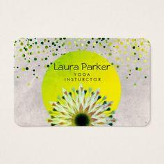 Green Yoga Instructor Lotus Flower  Watercolor Business Card - yoga health design namaste mind body spirit