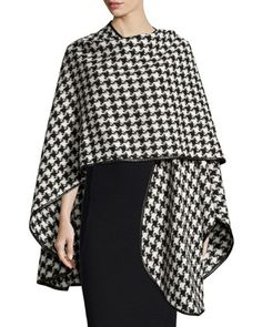 Houndstooth+Leather-Trim+Cape,+Black/White+by+Sofia+Cashmere+at+Neiman+Marcus.
