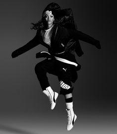 PUMA White Leather Eskiva Hi Sneaker #RIHANNAxPUMA @madisonshoes