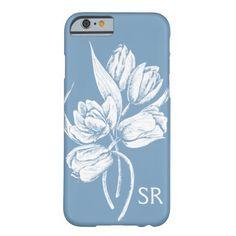 Monogram White Tulips on Dusk Blue Barely There iPhone 6 Case