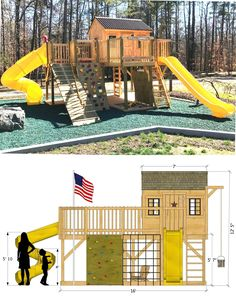 The Playground Playhouse Plan.  Download your copy and start building today! #PlayhousePlans