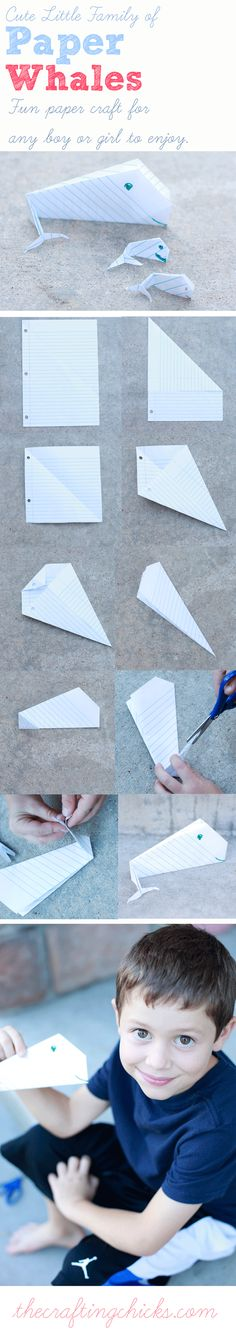 This is the CUTEST little family of PAPER WHALES. Easy easy instructions that any child could do. #craftingchicks #papercrafts thecraftingchicks.com