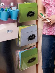 Personalize a cubby for each of your kids for a seamless back-to-school transition.   Photo Credit: David Tsay    http://www.womansday.com/home/organizing/family-command-center#slide-5
