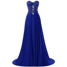 Vinvv Women's Strapless Beaded Long Prom Party Gown Open Back... ❤ liked on Polyvore featuring dresses, gowns, royal blue evening gown, long gown, blue homecoming dresses, royal blue dress and long party dresses