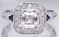EGL USA H-VS2 18k white gold asscher cut diamond engagement ring halo 1.50ctw by asparklingworld on Etsy
