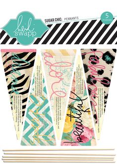 Heidi Swapp - Sugar Chic Collection - Wood Sticks - Pennants at Scrapbook.com $3.49