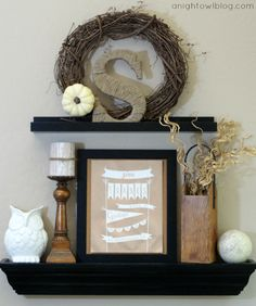 Get your mantel in shape for Thanksgiving with these ten festive fireplace ideas: Photo: It's OverflowingWhite and wood tones make this mant