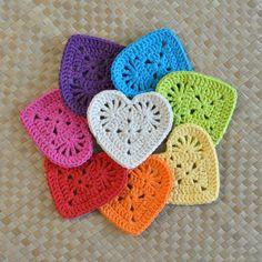Granny Heart Coaster/Motif: crochet pattern for purchase