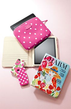 Kate Spade. Azalea pink polka dot iPad and iPhone accessories.