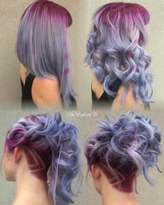 Purple hair color and cut Dye My Hair, New Hair, Purple Hair, Ombre Hair, Purple Grey, Purple Ombre, Bright Purple, Magenta, Coloured Hair