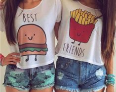 🍟Best Friends Crop Tops Lot of 2 size L🍔 Lot of 2 crop top BFF shirts. Best Friends T Shirt, Best Friend Outfits, Best Friend Goals, Best Friends Forever, Best Friend Stuff, Friends Shirts, Best Friend Clothes, Best Friend Matching Shirts, Bff Goals