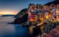 Download wallpapers Cinque Terre, evening, small town, Riomaggiore, Liguria, Ligurian Sea, Italy