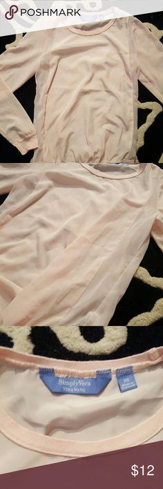 Blush pink Vera Wang long sleeve silky top Blush pink long sleeve silky top. Sheer on the sides. Love wroth ripped beans and heeled sandals Vera Wang Tops Tees - Long Sleeve