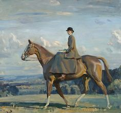 Portrait of Lady Barbara Lowther on Horseback,  Alfred James Munnings.