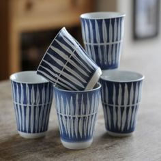 Beakers, blue & white china by Danish designer, Skagen