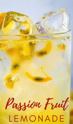 Beat the heat with this amazing Passion Fruit Lemonade. It's tangy, sweet, sultry and tropical. Real lemon juice gets mixed with passion fruit simple syrup and sparkling water for a crisp, light drink that can be made by the glass or by the pitcher. Make a batch for 4th of July or any summer weekend! Easy Drink Recipes, Drinks Alcohol Recipes, Non Alcoholic Drinks, Summer Recipes, Cocktail Recipes, Gourmet Recipes, Vegan Recipes, Cocktails, Fruity Drinks