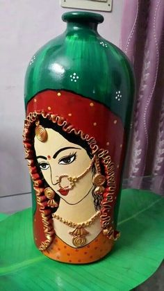 Interesting, may be. try on a bottle Mural Painting, Mural Art, Ceramic Painting, Ceramic Art, Fabric Painting, Glass Bottle Crafts, Diy Bottle, Bottle Art, Pottery Painting Designs
